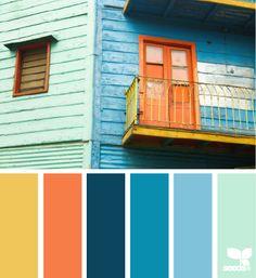 global brights: orange, blue, mustard yellow