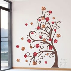 Curly Tree & Flowers in the Wind Wall Decal at Art.com: