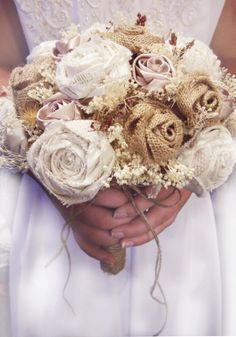 NEW Burlap Country Bridal Bouquet with Matching Groom Boutonniere. Ready to Ship!