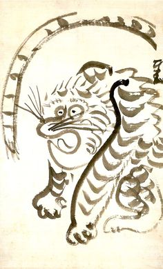 江戸時代の愛嬌のある虎(『虎図』 仙厓義梵 画)の拡大画像