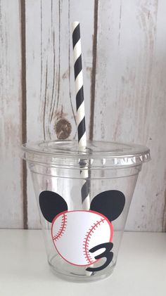 12 Mickey Mouse Baseball Party Cups, Sports Cups, Sports Birthday Party, Mickey Mouse Party, Baseball Birthday Party by LuluBellaCreations…