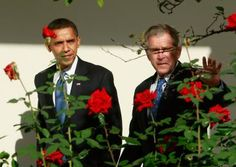 Which Presidents Rang Up the Highest Deficits?: U.S. President George W. Bush (R) walks on the colonnade with then President-elect Barack Obama at the White House on November 10, 2008.