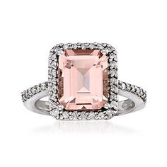 Ross-Simons - 2.60 Carat Morganite and .30 ct. t.w. Diamond Ring In 14kt White Gold - #767584