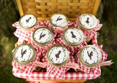 Love these Little Red Riding hood gift jars in gingham basket.
