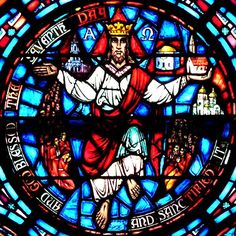 """seventh day blessed/Christ medallion; Old Testament Windows - Westminster Presbyterian Church  724 Delaware Avenue, Buffalo, NY  """"Creation"""" window, 1950, Willet Studios"""
