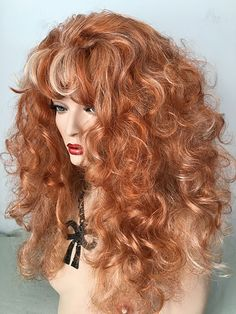 Special Color: Fire Red highlighted with Pale Blonde, Classic, Drag, Queen, Wig