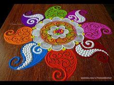 Navratri festival rangoli, innovative and colorful rangoli Rangoli Designs Latest, Latest Rangoli, Rangoli Designs Images, Rangoli Designs Diwali, Diwali Rangoli, Beautiful Rangoli Designs, Mehandi Designs, Indian Rangoli, Rangoli Borders