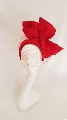 Millinery by Mel Felt headpiece with veil Turbans, Red Hat Society, Fascinator Headband, Millinery Hats, Fancy Hats, Wedding Hats, Love Hat, Red Hats, Hat Making