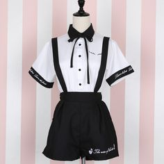 material: made of cotton and polyester Option: White shirt Black suspender skirtBlack suspender shorts Size reference: Suspender skirt: Size Waist strap length Length S M L Suspender shorts: Size Length Waist strap length S M L # Kawaii Fashion, Lolita Fashion, Cute Fashion, Mode Outfits, Skirt Outfits, Fashion Outfits, Fashion Clothes, Mode Swag, Kawaii Clothes