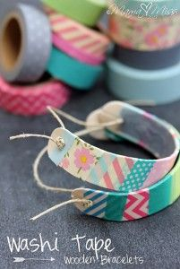 76 Crafts To Make and Sell - Easy DIY Ideas for Cheap Things To Sell on Etsy, Online and for Craft Fairs. Make Money with These Homemade Crafts for Teens, Kids, Christmas, Summer, Mother's Day Gifts. |  Washi Tape Wooden Bracelets  |  diyjoy.com/crafts-to-make-and-sell