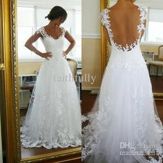 Cheap White A Line Transparent Back Wedding Dresses Scoop Sleeveless Applique Ruffle Lace Pleated Floor Length Bridal Gowns Bridal Dresses