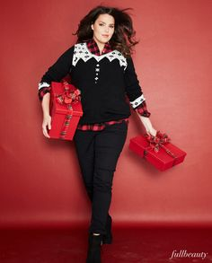 Own your curves at your next holiday outing in this fabulous fullbeauty ensemble! Layer our plus size #sweater over a cozy flannel top for a classic winter outfit.