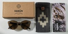 "Karün Eyewear.    The box is made out of cardboard one color print and embossed, the cases are made out of wool which is woven and dyed by Mapuche people following the traditional Chilean standards.  The booklet is printed on certified paper and contains all the information regarding the Mapuche heritage and their relationship with nature.    Including the poem ""The Forest of Memory"" written by Elicura Chihuailaf."