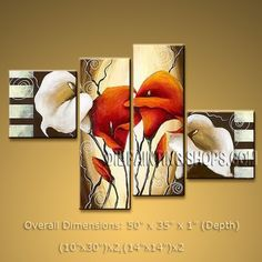 Tetraptych Contemporary Wall Art Floral Painting Lily Flowers Artwork. In Stock $128 from OilPaintingShops.com @Bo Yi Gallery/ ops2214