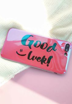 Pink Good Luck iPhone 6, iPhone 6 plus, iPhone 7, iphone 7 plus, iPhone 8, iPhone 8 Plus,iPhone X Protective case for cute girl