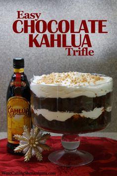 Easy Kahlua Chocolate Trifle - We're Calling Shenanigans Layered Desserts, Köstliche Desserts, Chocolate Desserts, Dessert Recipes, Chef Recipes, Plated Desserts, Desserts With Alcohol, Chocolate Cake, Dessert Healthy