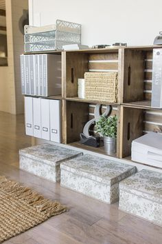 Our Current Home | Jenna Sue Design Blog.  Walmart 9.99 wooden crate...awesome idea