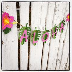 ALOHA Luau Party Banner, Pink hibiscus green, ready to hang - hawaiian party