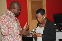 Host,Femi Ipadeola and Director,PlayHouse Arcade Tolani Tytbones(Guest) having a chat before the recording