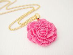 Pink Peony Flower Necklace. $12.00, via Etsy.