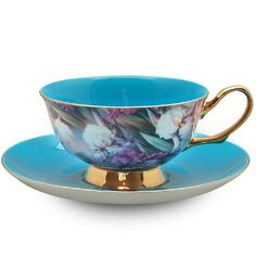 Satin Shelley Turquoise Bone China Tea Cup & Saucer Set