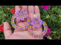 Seed Bead Jewelry, Bead Jewellery, Seed Bead Earrings, Diy Earrings, Beaded Jewelry, Beaded Flowers Patterns, Beaded Earrings Patterns, Beading Patterns, Loom Beading