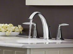 Kohler Alteo Vibrant Brushed Nickel Two Handle Widespread Bathroom Faucets Modern Bathroom Faucets, Wall Mounted Bathroom Sinks, Bathroom Ideas, Vanity Faucets, Bath Ideas, Toilet Accessories, Widespread Bathroom Faucet, Shower Panels, Glass Ceramic