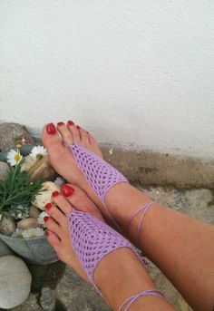 Lilac  Barefoot Sandals Nude shoes Foot jewelry by ArtofAccessory, $15.00