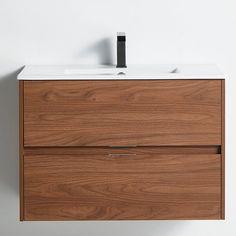 "Latitude Run® Chenkin 32"" Wall-Mounted Single Bathroom Vanity Set | Wayfair Cabinet Handles, Cabinet Doors, Toilet Sink, Mirror Backsplash, Simple Bathroom, Single Bathroom Vanity, Bathroom Cabinets, Bath Remodel, Vanity Set"