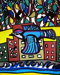"Ally Burguieres ""Blue Jay Bead Tree"" Painting 8x10"" oil and acrylic on canvas"