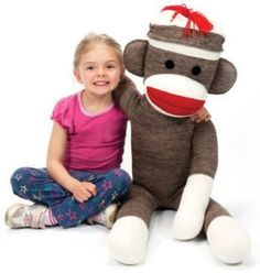 Giant-Sock-Monkey-Large-Jumbo-Red-Heel-3-ft-9-in-Stuffed-Plush-Tall-Animal