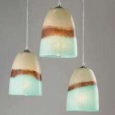 Strata Art Glass Pendant Light aqua_and_brown