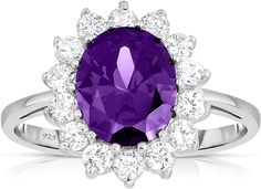1.30 Cttw, 7MM Round Cut, Available in size 5, 6, 7, 8, 9 Sterling Silver Genuine Amethyst Womens Solitaire Engagement Ring