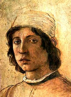 Filippino Lippi - Autoritratto - affresco staccato su embrice di terracotta - 1485 circa - Galleria degli Uffizi a Firenze.