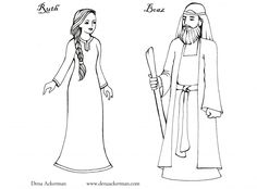 Ruth, Naomi, Boaz and Orpha Paper dolls, with different outfits.