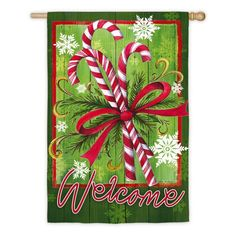 Evergreen Flag Candy Cane and Ribbons House Flag - 13S3967