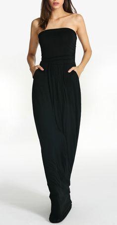 "SheIn""s black strapless pockets maxi dress"