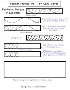 Handout by Carla Barrett on basic feathers - scroll down the blog entries and they get more complicated.