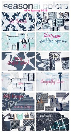 #31 Thirty-One Gifts SEASONAL COLORS add great prints to 2018 Spring and Summer. Check out Fab Flourish, Sparkling Squares, Dragonfly Daze, Navy Starfish Splash, Dotty Hexagon, Woven Stripe, Midnight Navy Pebble, Dash of Plaid Pebble that go along well with existing Skies For You Pebble, Geo Pop and Geo Stripe. Find these prints and others at MyThirtyOne.Com/PiaDavis or find your consultant in the upper right corner of the website.