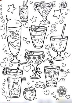 Drink Coloring Page Food Coloring Pages, Free Printable Coloring Pages, Adult Coloring Pages, Coloring Pages For Kids, Coloring Sheets, Coloring Books, Outline Drawings, Easy Drawings, Sketch Note