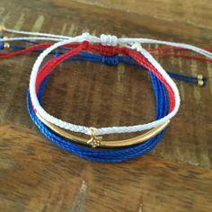 Red White & Blue Bracelet Set by StuckOnYouBracelets on Etsy https://www.etsy.com/listing/397980445/red-white-blue-bracelet-set