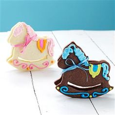 Rocking Horse Cookies Recipe -These precious ponies are perfect baby shower favors. The 3-D cookies stand and even rock.—Lorri Reinhardt, Big Bend, Wisconsin
