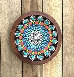 Mandala Wood Bowl / hand painted mandala / dot mandala /
