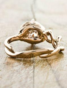 Unique Custom Double-helix Engagement Rings by Ken & Dana Design - Mandy back view