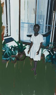 Kudzanai-Violet Hwami (Zimbabwean, b. Girl by the Veranda, Oil and acrylic on canvas, 150 x 90 cm African American Artist, African Art, American Artists, African Paintings, Oil Paintings, Black Artists, New Artists, Wimbledon College Of Art, Mises En Page Design Graphique