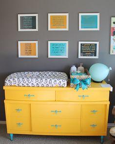 Love this dresser--orange with blue and dark grey walls