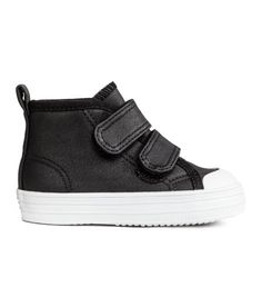 Check this out! High tops in imitation leather with rubber toe caps. Hook-loop fasteners at front and loop at back. Pile lining, cotton canvas insoles, and rubber soles. - Visit hm.com to see more.