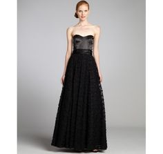 Aidan Mattox black tulle rosette strapless  gown