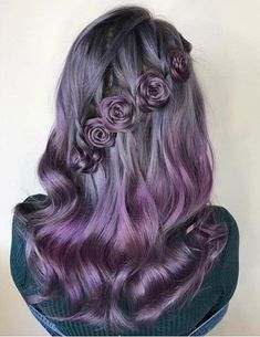 Delightful Flower Braids on Gorgeous Pastel Hair to Blow People's Minds - The Right Hair Styles Ombre Hair, Purple Hair, Cinnamon Hair, Flower Braids, Flower Hair, Lavender Hair, Cool Hair Color, Gorgeous Hair Color, Pretty Hair