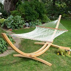 Island Bay XL Rope Hammock with Cypress Wood Arc Stand